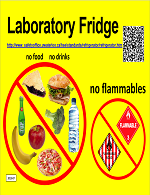 Laboratory fridge poster indicating that no foods, drinks or flammable items should be placed in the fridge.