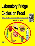 Explosion proof laboratory fridge indicating that no foods or drinks should be placed in the fridge.