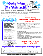 Slips and Fall Prevention poster, giving hints to prevent falls during bad weather conditions