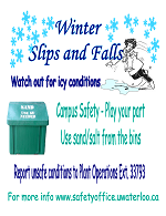 Campus safety poster for icy conditions,  suggests to use sand or salt bins when in need.