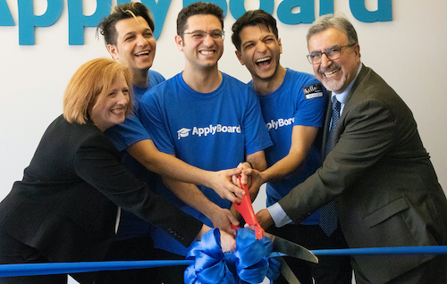 Photo of ApplyBoard CEO,Co-founder cutting ribbon with Feridun
