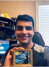 Ayush Wadehra displaying 3D printed, The Starry Night