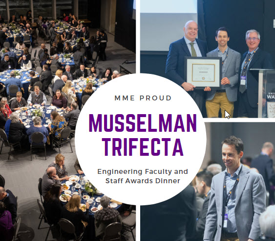 Musselman and the Trifecta: Engineering Faculty and Staff Awards Dinner