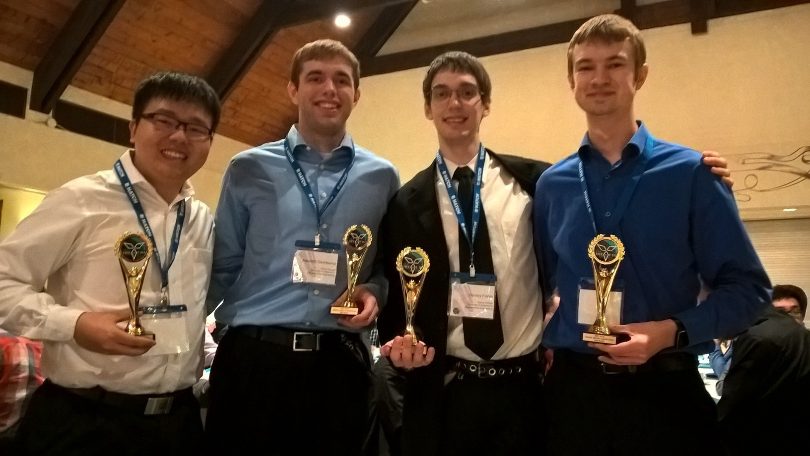 From the left, Eric Shi, Kenneth Geertsema, Wesley Fisher, and Daniel Lizewski.