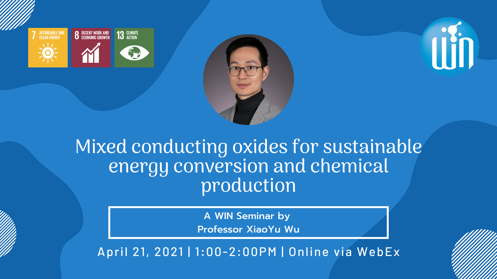 Mixed conducting oxides for sustainable energy conversion and chemical production a WIN seminar by professor XiaoYu Wu