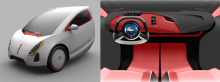 Concept of interior and exterior of an urban vehicle