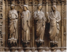 Image of medieval sculptures in cathedral in France