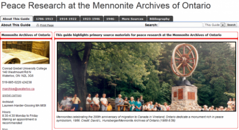 Peace Research at the Mennonite Archives of Ontario website