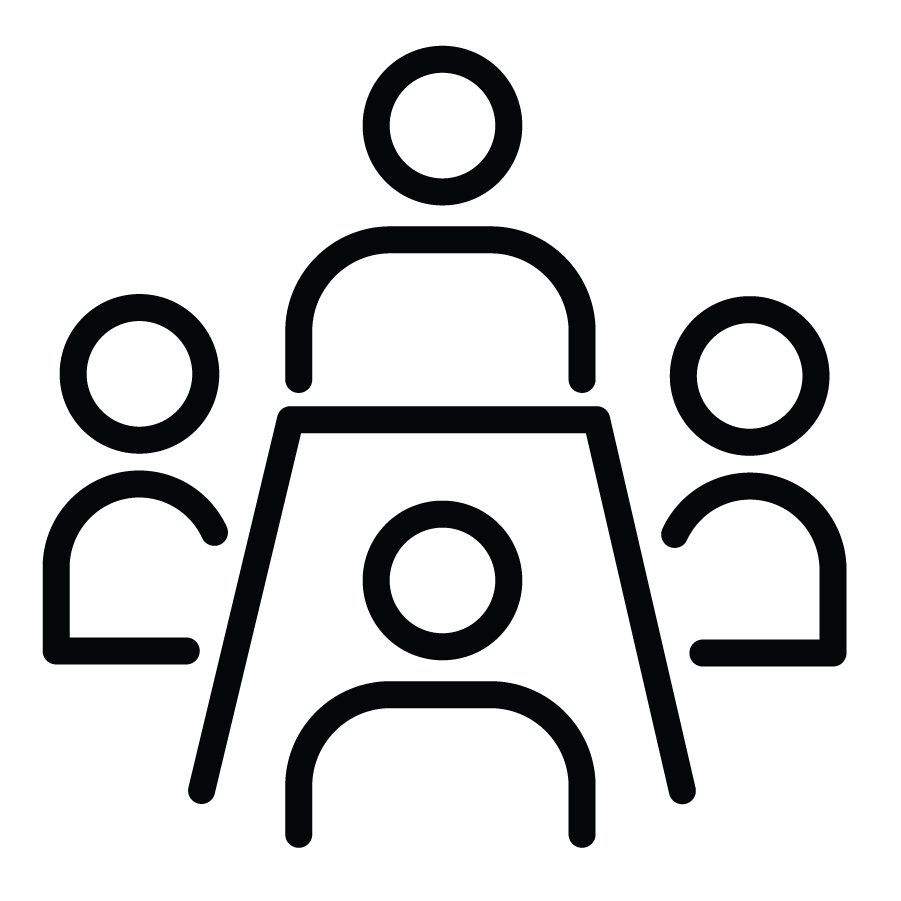 Icon of people seated around a table