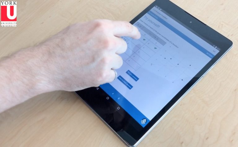 Person using the STEM teaching app on a tablet.