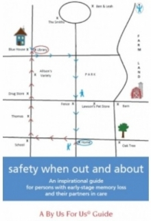 Front cover of the By Us For Us guide - Safety when out and about. Picture of a hand-drawn map.