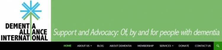 Screen shot of Dementia Alliance International website