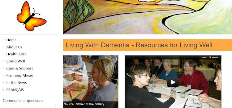Homepage of Living with Dementia: Resources for Living Well website.