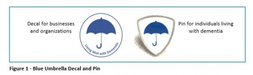 Blue umbrella decal for businesses and blue umbrella pin for people with dementia.