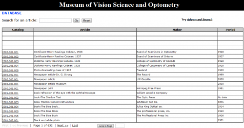 Screen shot of the Museum of Vision Science and Optometry database