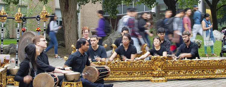 Students play the Gamelan outside on the University of Waterloo campus