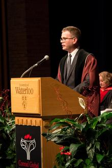 President Marcus Shantz speaking at his installation