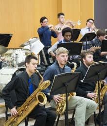 Students in the jazz ensemble