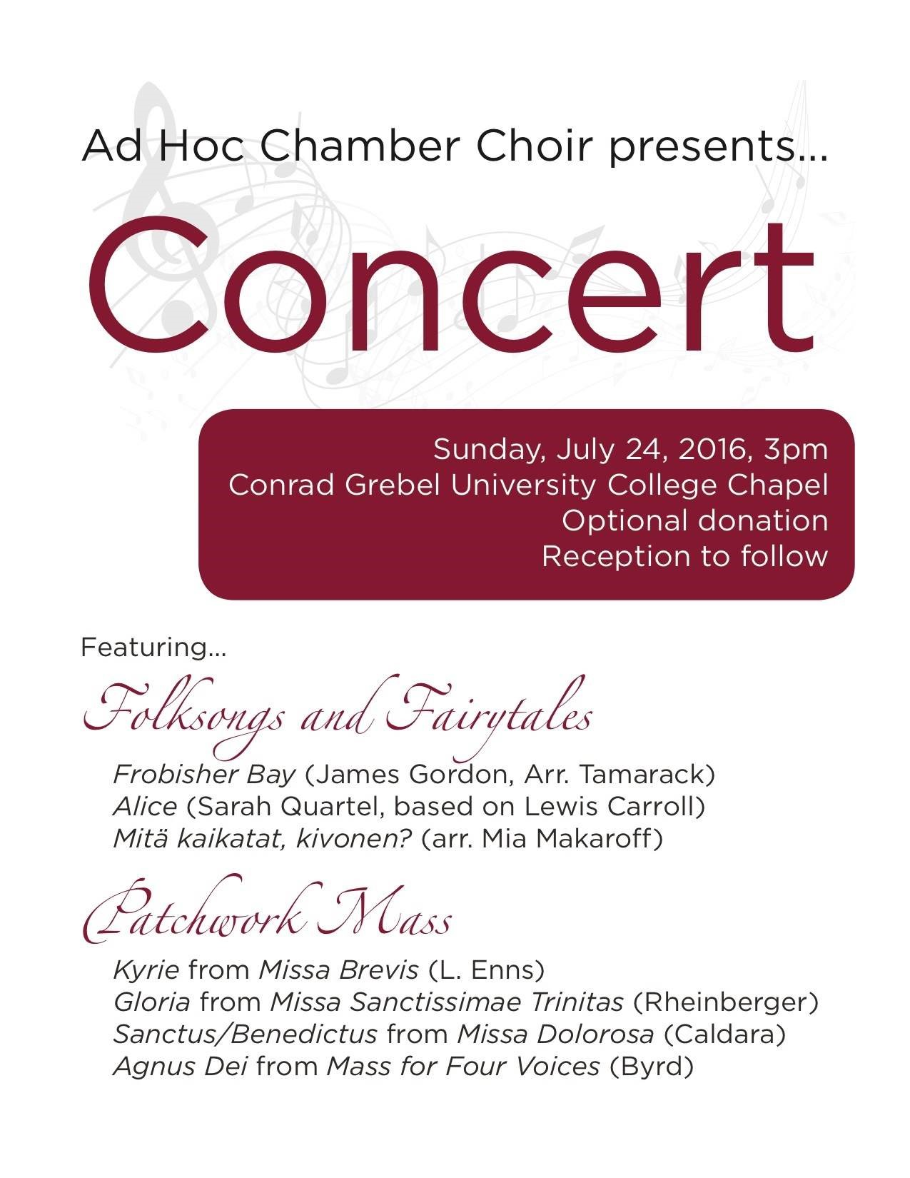 Ad Hoc Chamber Choir poster
