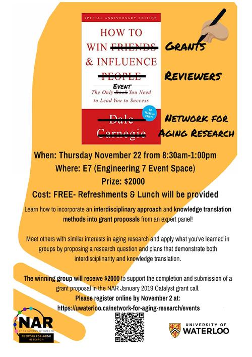 Poster for the event 'how to win grants and influence reviewers', book with title, information about event listed.