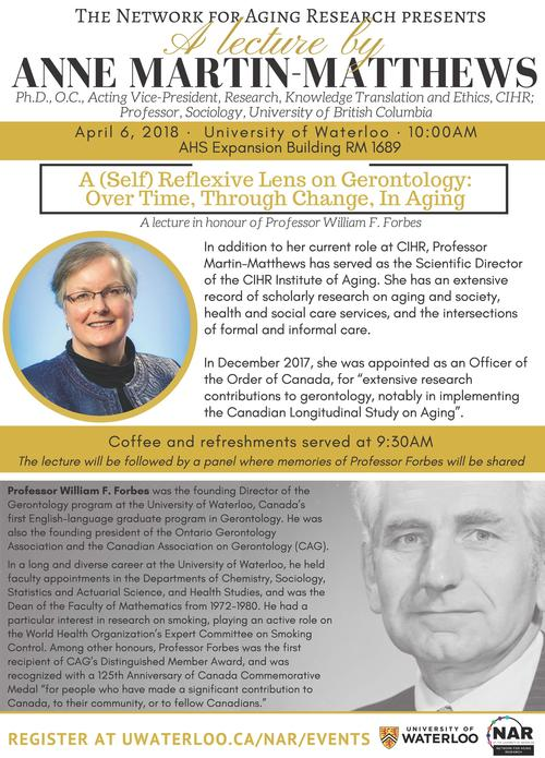Information poster for the Dr. Anne Martin-Matthews lecture