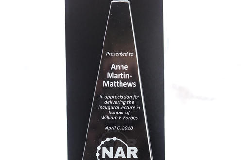 Picture of award presented to Dr. Anne Martin-Matthews