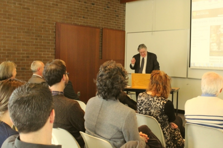 George Dixon, Vice-President of University Research, speaking at the event.