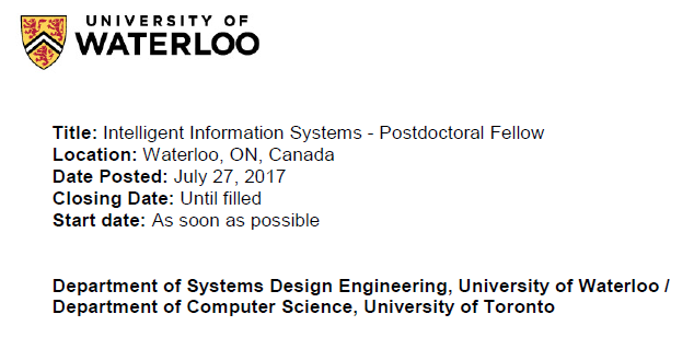 Intelligent information systems - Postdoctoral fellow