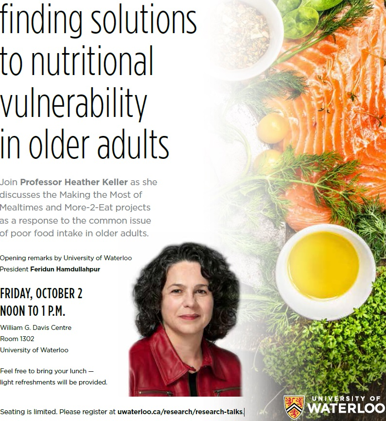 Event poster - photo of Heather Keller, event details listed, and a variety of food on the right side