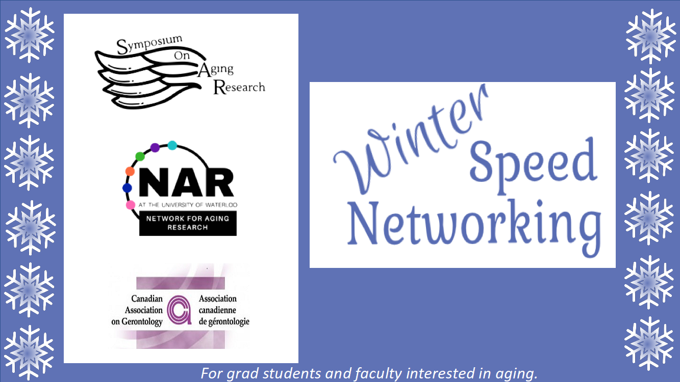 SoAR, NAR and CAG logos with Winter Speed Networking written beside and snowflakes as a border