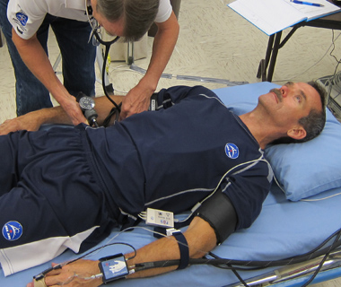 Astronaut Chris Hadfield undergoing tests before the BP Reg experiment