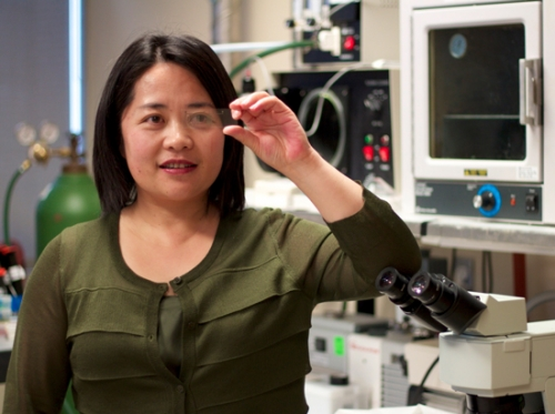 Carolyn Ren with her lab on a chip
