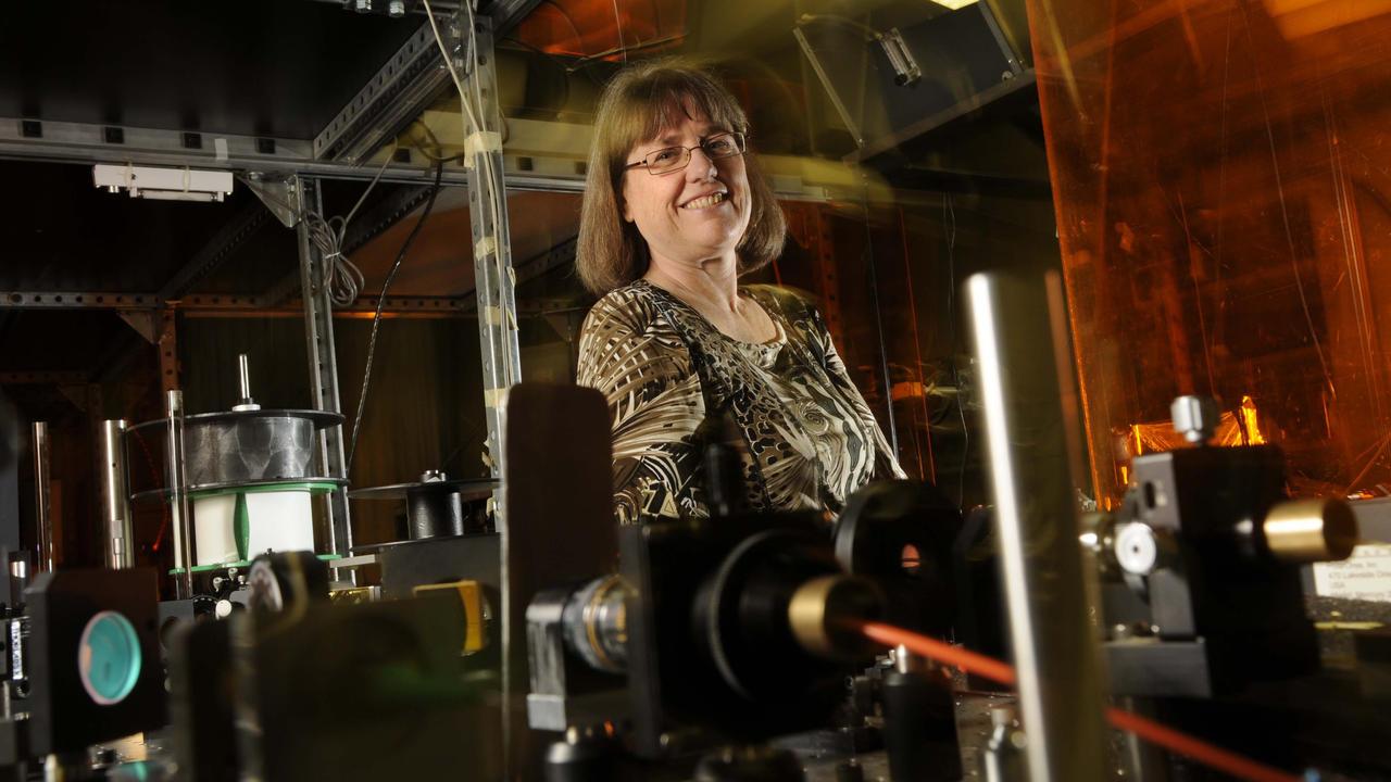 Professor Strickland in lab