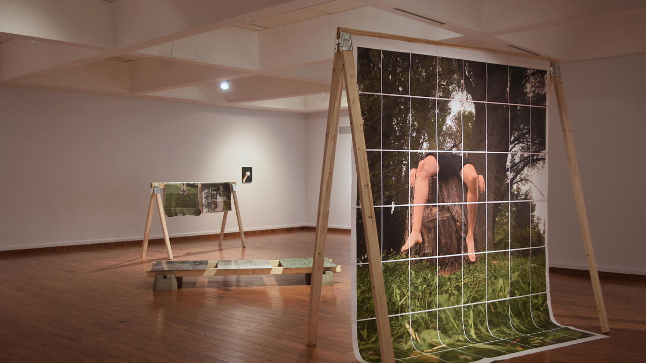gallery space with large photos draped on wooden frames