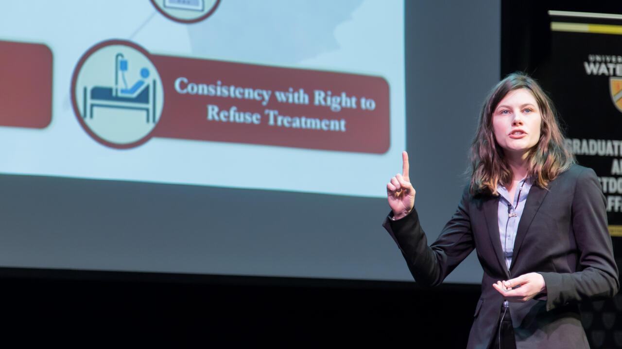 Kathryn Morrison speaking on stage