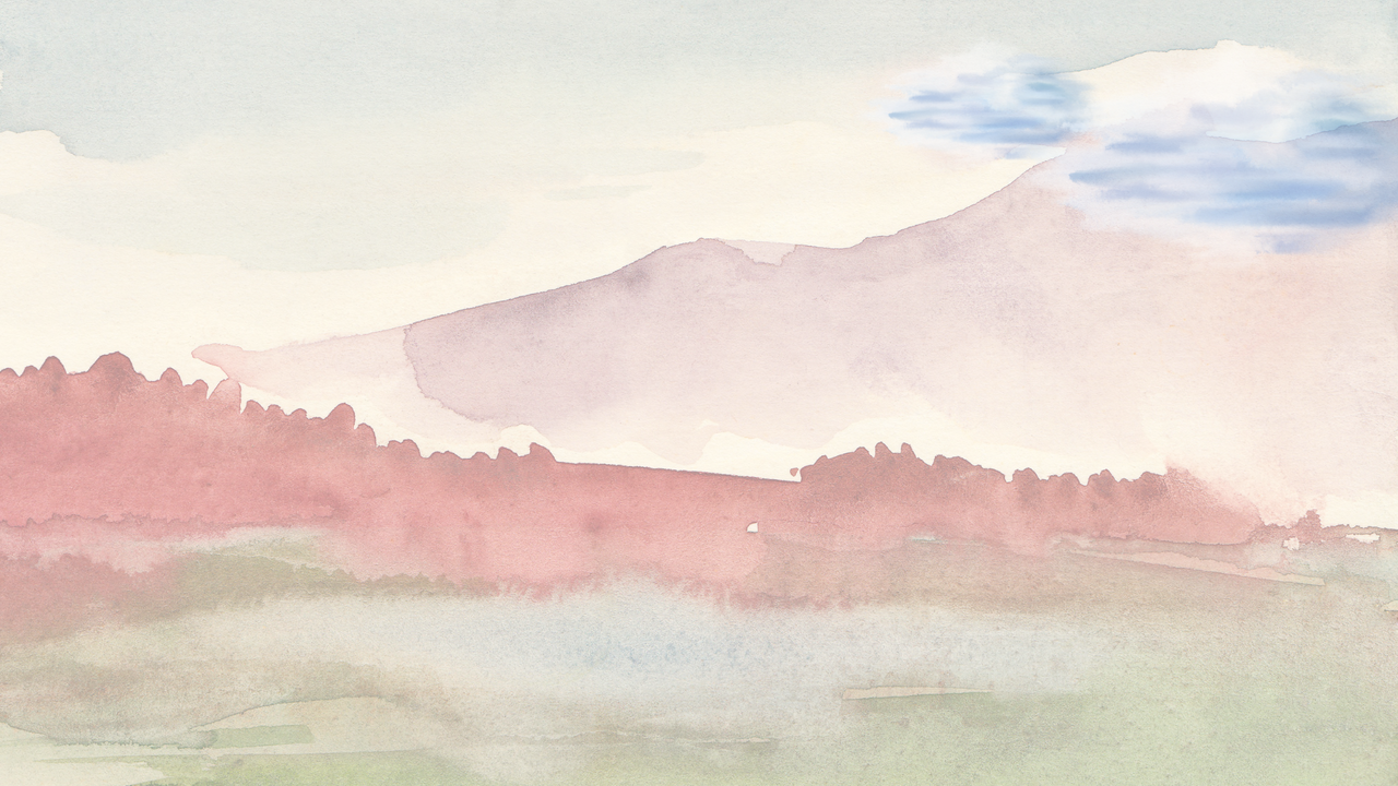 Watercolour painting of a mountain scape