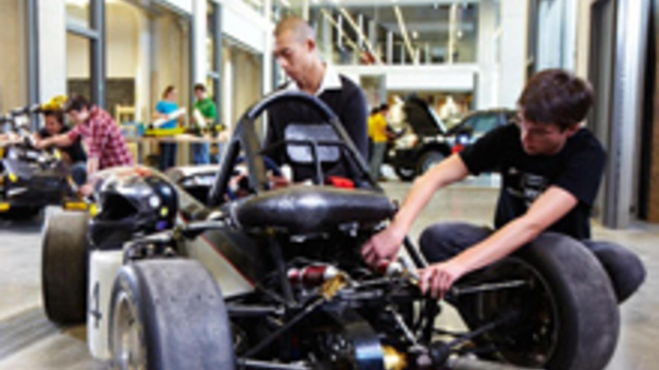 Engineering students work on car prototype