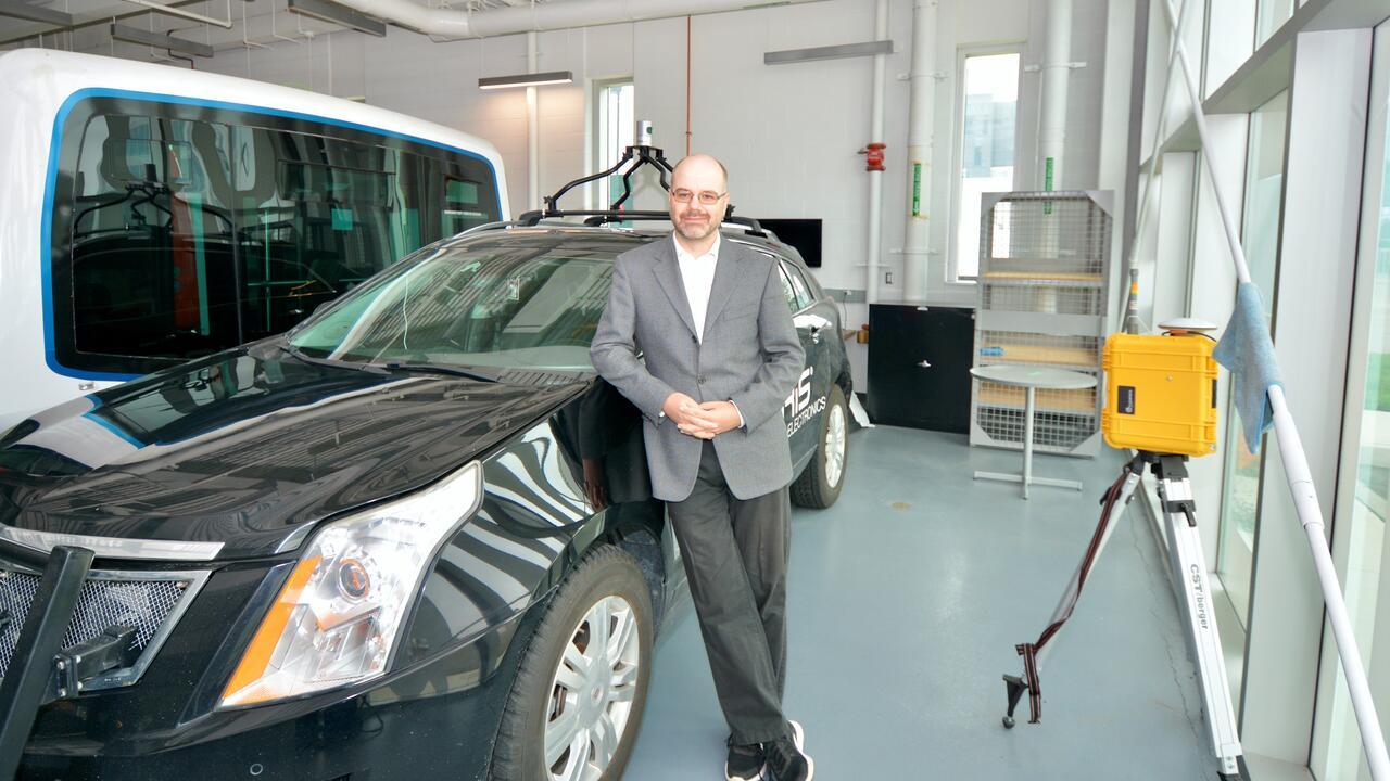 University of Waterloo professor Sebastian Fischmeister in Waterloo's Autonomous Vehicle Research and Intelligence Lab.