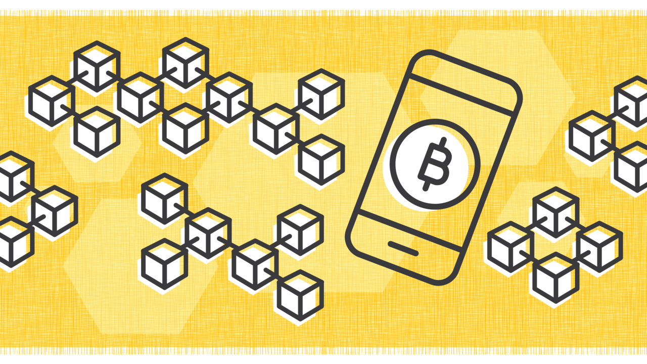 Illustration of bitcoin symbol on a cellphone