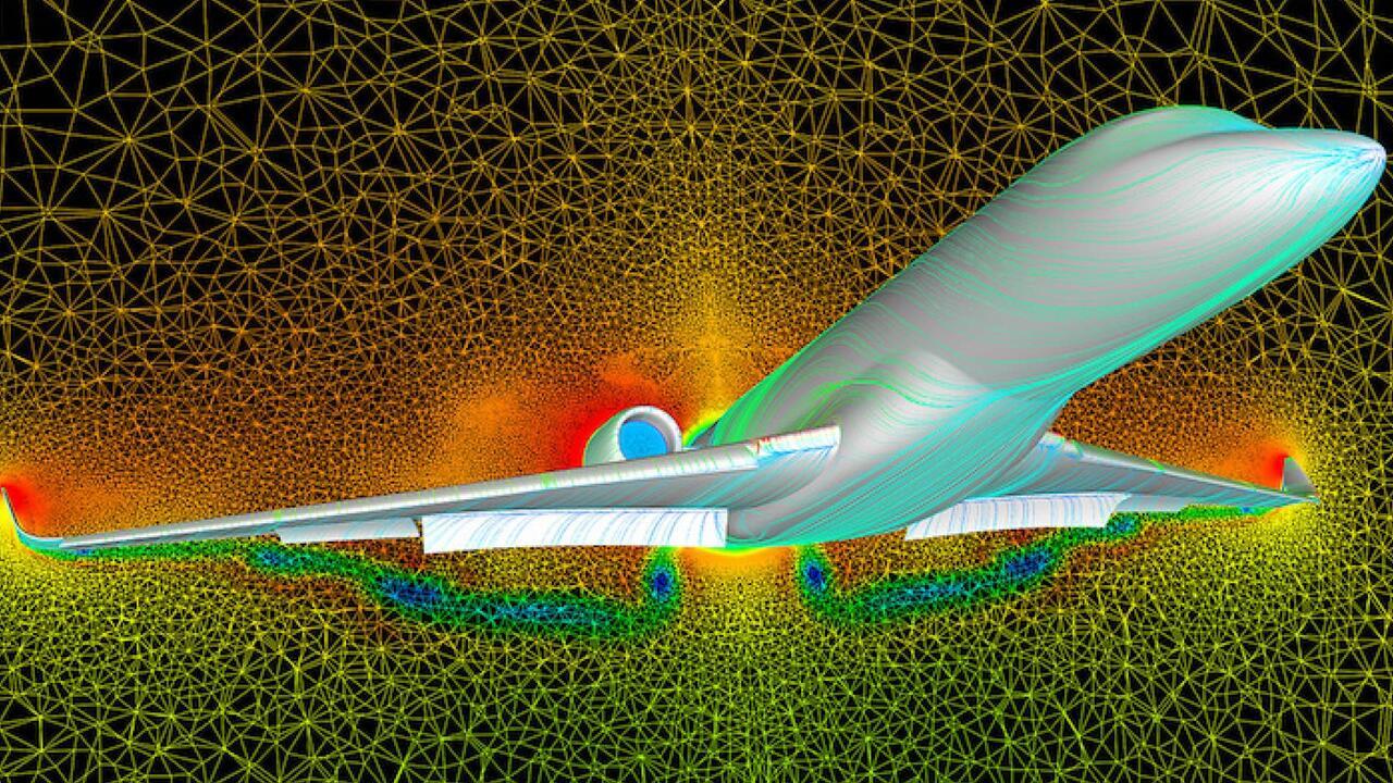 Passenger plane modeled in computational fluid dynamics