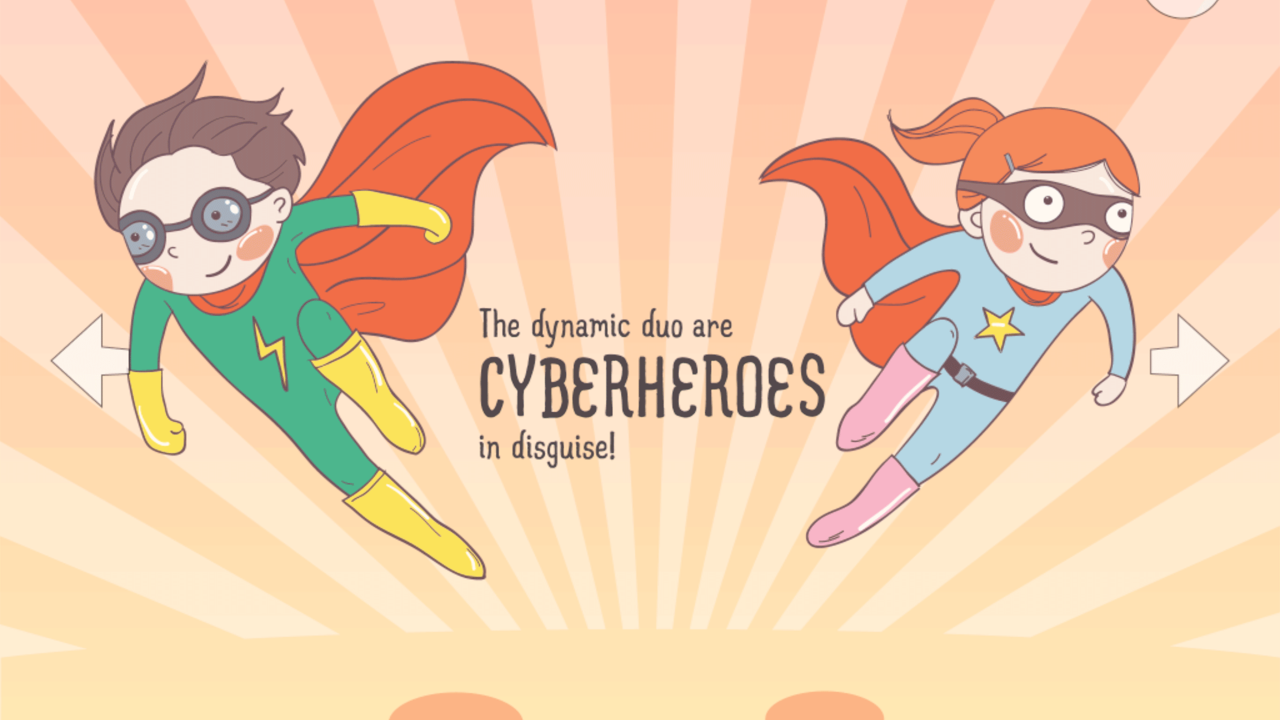 Animated cyber heros graphic