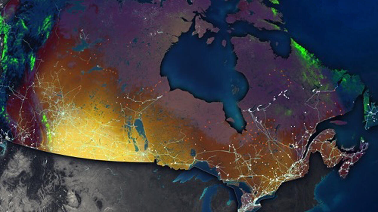 Map of Canada showing higher energy usage in southern portion of the country
