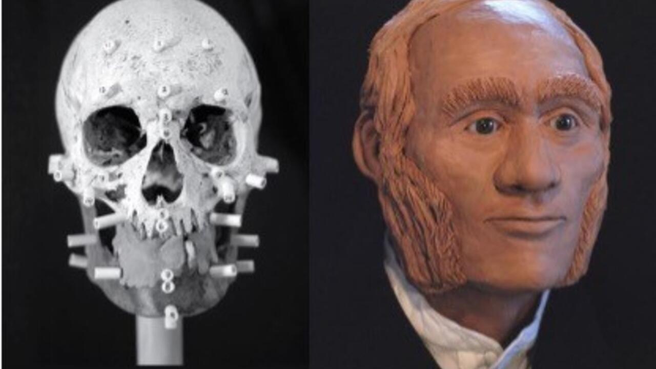 Facial reconstruction of individual identified through DNA analysis as John Gregory, HMS Erebus.