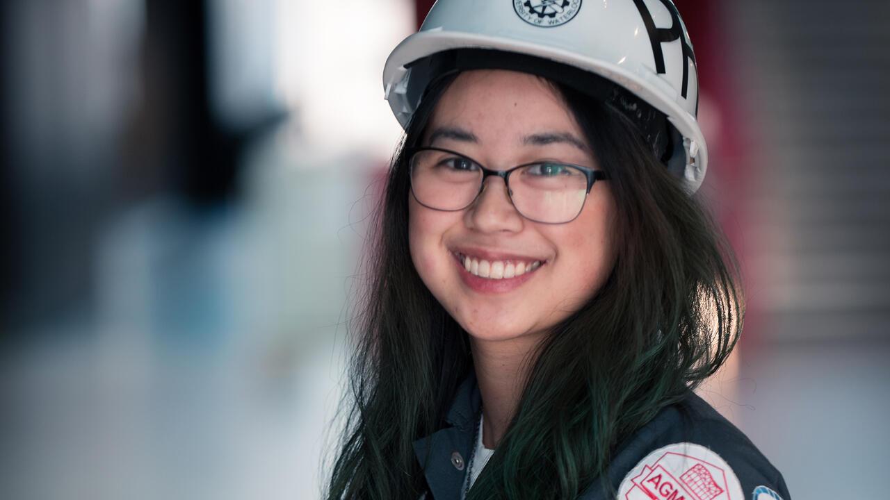 Mariko Shimoda in full engineering gear