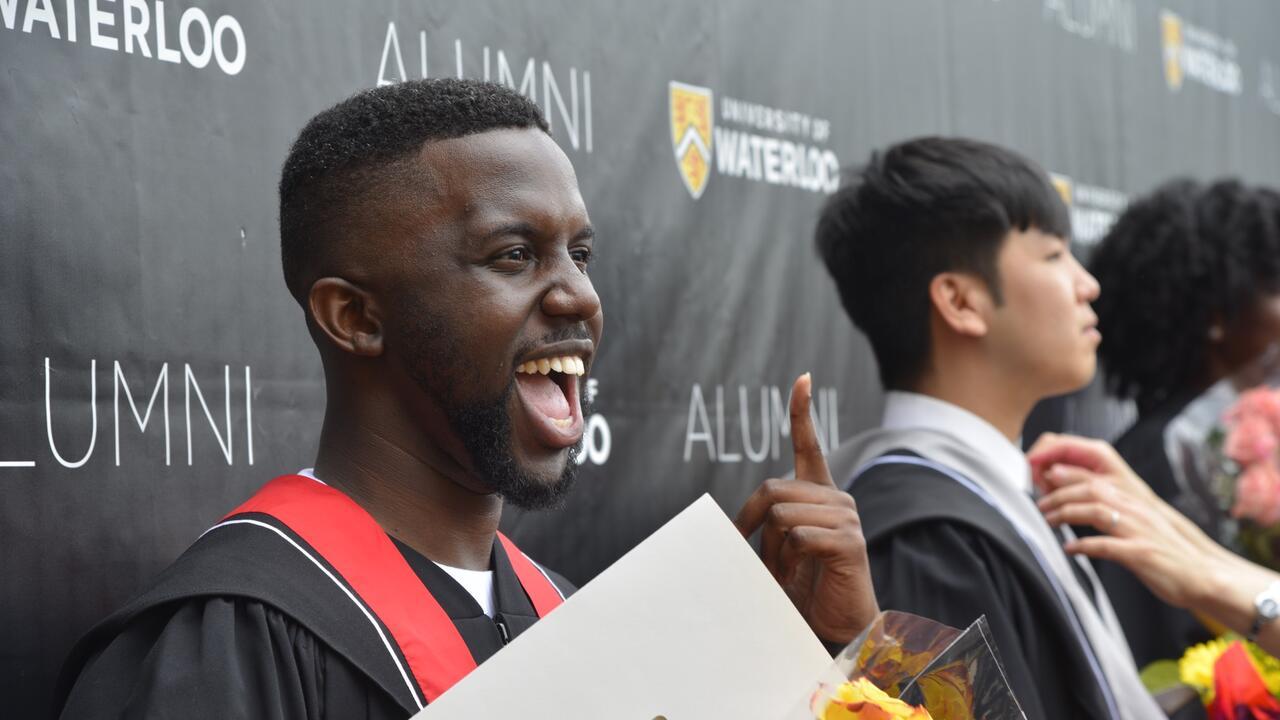 Jeffery Yaw Owusu-Ansah at his graduation from Waterloo Engineering in 2018.
