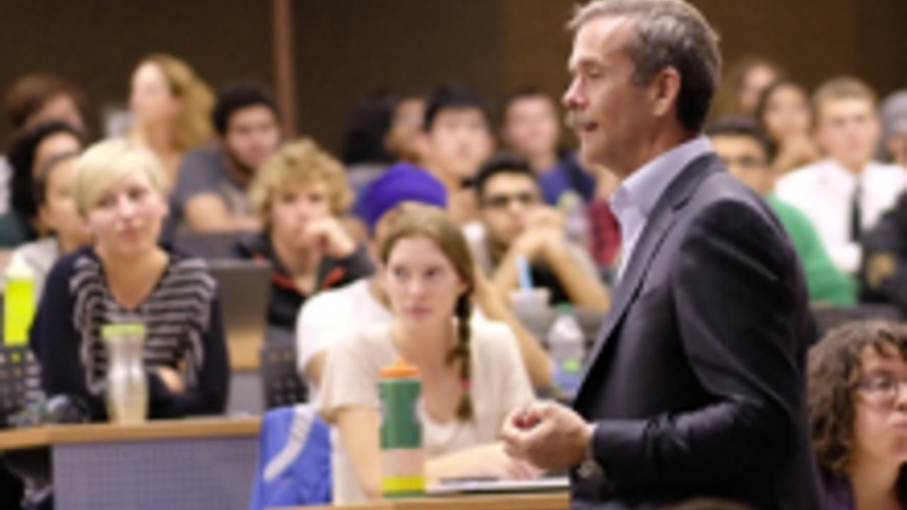 Chris Hadfield lectures to students at UWaterloo