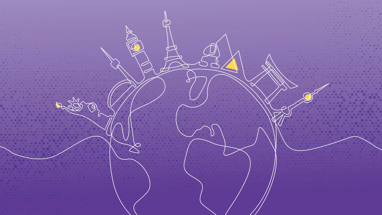 international education week logo - purple globe