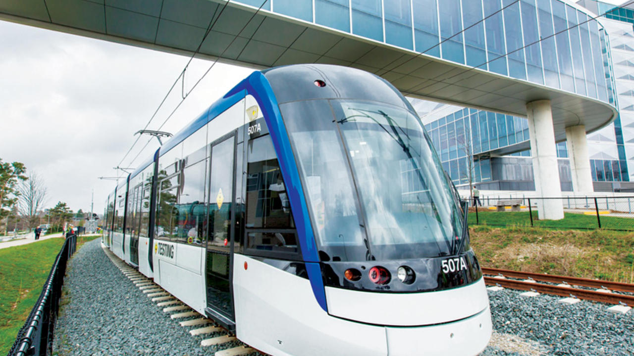 LRT rolling by campus