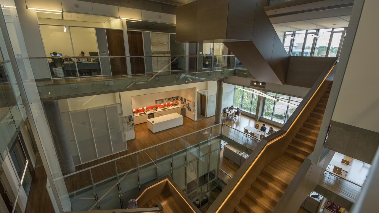 Inside stairway of IQC