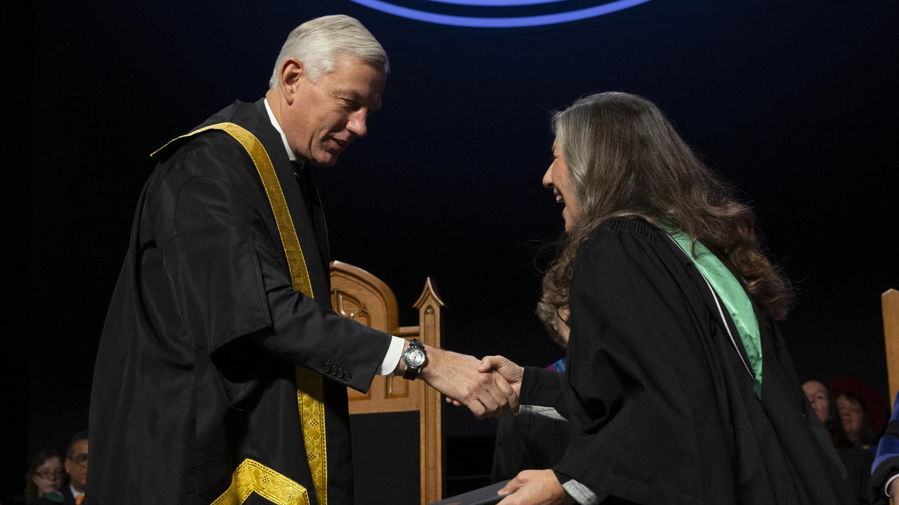 Jennifer Roy accepting her degree